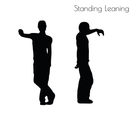 sloping: EPS 10 vector illustration of a man in Standing Leaning  pose on white background
