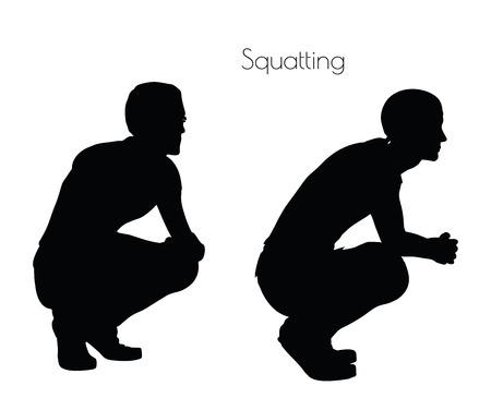 白い背景の上にしゃがんで座っている男の EPS 10 ベクトル イラスト ポーズします。
