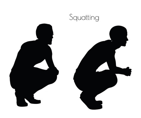 EPS 10 vector illustration of a man in Sitting Squatting  pose on white background