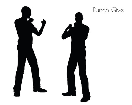 clout: EPS 10 vector illustration of a man in Punch Give pose on white background