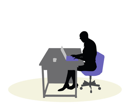 headquarters: EPS 10 vector illustration of a business woman sitting at a desk