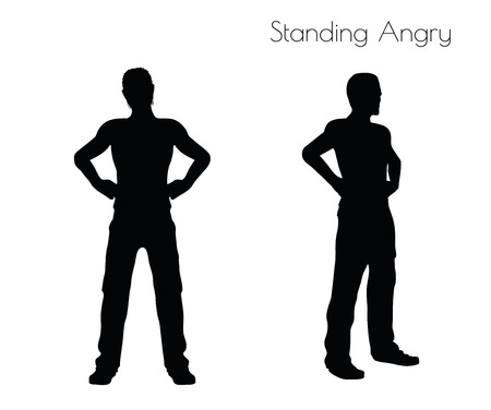 incensed: EPS 10 vector illustration of a man in Standing Angry  pose on white background Illustration