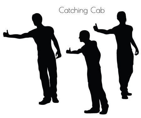 catching: EPS 10 vector illustration of a man in Action Catching Cab  pose on white background