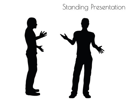 arise: EPS 10 vector illustration of a man in Standing Presentation  pose on white background