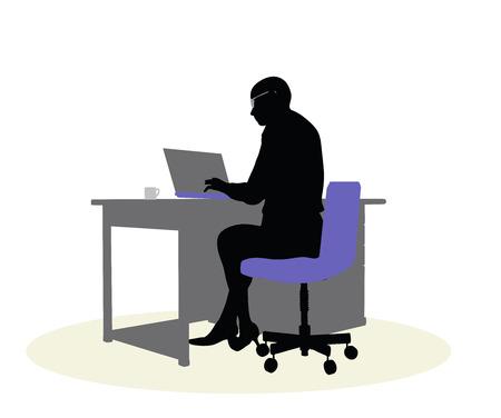 sedentario: 10 ilustración vectorial EPS de una mujer de negocios sentado en un escritorio