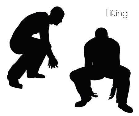 abolition: EPS 10 vector illustration of man in  Lifting  Action pose on white background Illustration