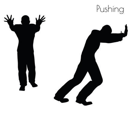 EPS 10 vector illustratie van de mens in Pushing actie pose op een witte achtergrond