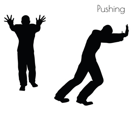 unattractive: EPS 10 vector illustration of man in  Pushing  Action pose on white background