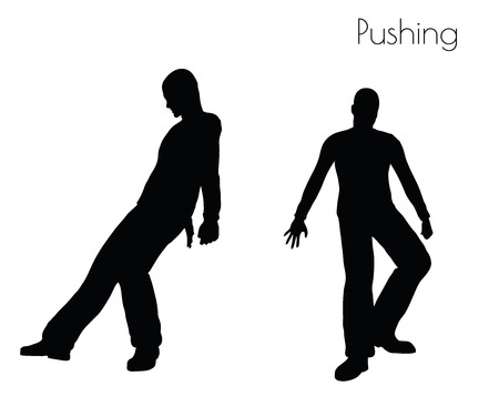 impulsive: EPS 10 vector illustration of man in  Pushing  Action pose on white background
