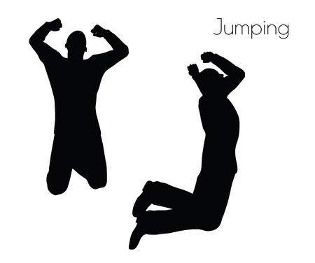 saltation: EPS 10 vector illustration of man in  Jumping  Action pose on white background