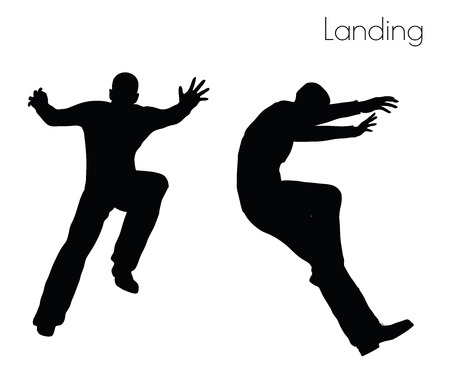 EPS 10 vector illustration of man in  Landing  Action pose on white background 일러스트