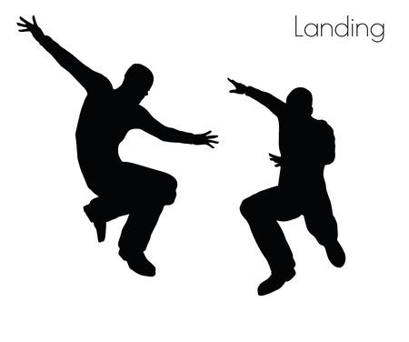 docking: EPS 10 vector illustration of man in  Landing  Action pose on white background Illustration