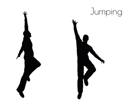 gambol: EPS 10 vector illustration of man in  Jumping  Action pose on white background