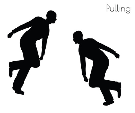 heave: EPS 10 vector illustration of man in  Pulling  Action pose on white background