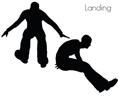 dip: EPS 10 vector illustration of man in  Landing  Action pose on white background Illustration
