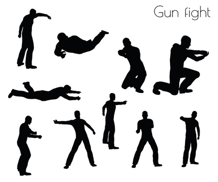 EPS 10 vector illustration of man in gunfight Action pose on white background