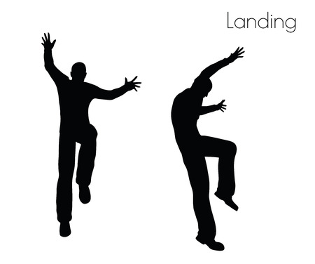 EPS 10 vector illustration of man in  Landing  Action pose on white background Illustration
