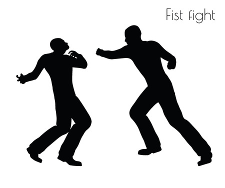 black men: EPS 10 vector illustration of man in fistfight Action pose on white background Illustration