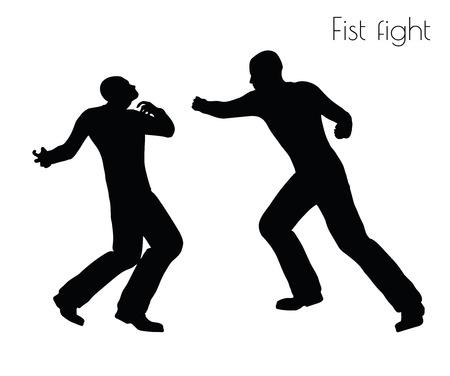 fistfight에서 남자의 EPS 10 벡터 일러스트 액션 포즈 흰색 배경에