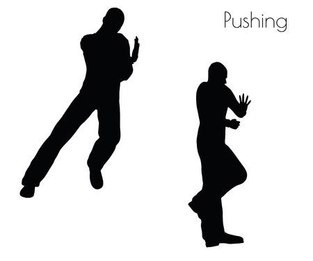 白い背景の上を押してアクションで男の EPS 10 ベクトル イラスト ポーズします。  イラスト・ベクター素材