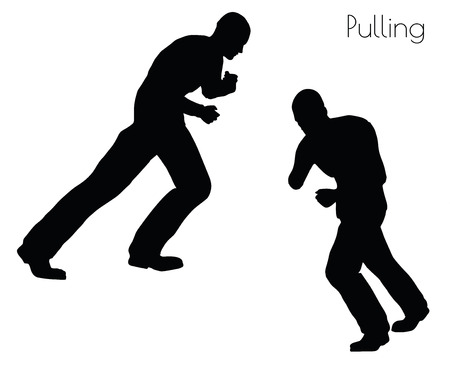 lug: EPS 10 vector illustration of man in  Pulling  Action pose on white background