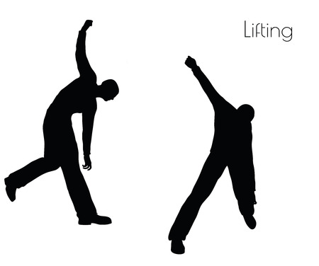 EPS 10 vector illustration of man in  Lifting  Action pose on white background Illustration