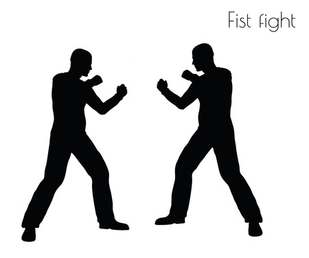 struggling: EPS 10 vector illustration of man in fistfight Action pose on white background Illustration