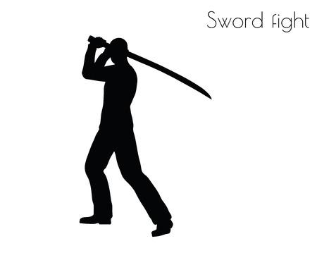 swordfight: EPS 10 vector illustration of man in swordfight Action pose on white background Illustration