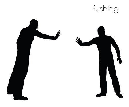 repulsive: EPS 10 vector illustration of man in  Pushing  Action pose on white background