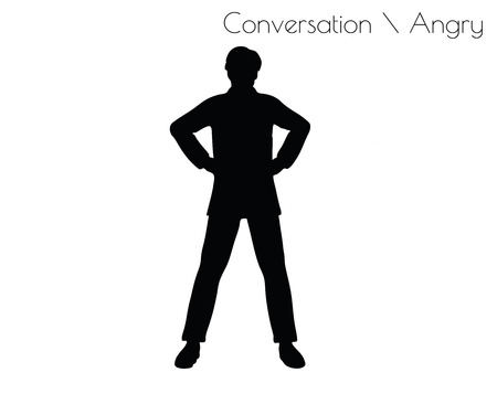 irked: EPS 10 vector illustration of man in Conversation Angry pose on white background
