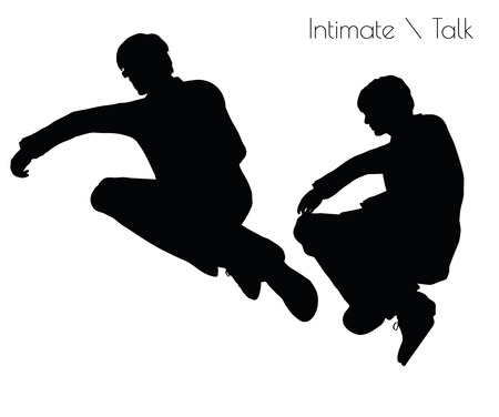 cherished: EPS 10 vector illustration of man in Conversation Intimate Talk  pose on white background