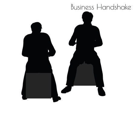 EPS 10 vector illustration of man in  Business Handshake pose on white background