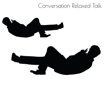 relaxed man: EPS 10 vector illustration of man in Conversation Relaxed Talk  pose on white background