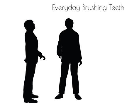 EPS 10 vector illustration de l'homme dans les dents tous les jours Brushing pose sur fond blanc