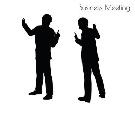 EPS 10 Vektor-Darstellung des Menschen in Business Meeting Haltung auf weißem Hintergrund