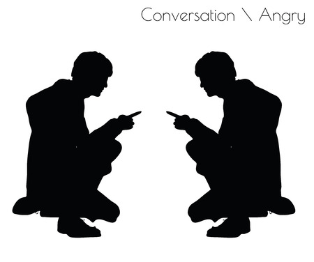enraged: EPS 10 vector illustration of man in Conversation Angry pose on white background