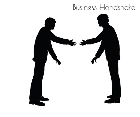 handclasp: EPS 10 vector illustration of man in  Business Handshake pose on white background