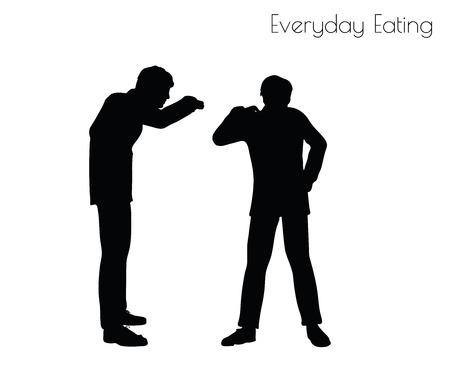 EPS 10 vector illustration de l'homme dans votre alimentation quotidienne pose sur fond blanc
