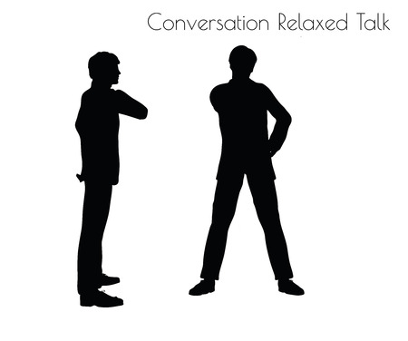 loosen: EPS 10 vector illustration of man in Conversation Relaxed Talk  pose on white background