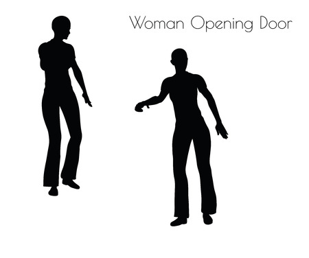 opening door: illustration of Woman Opening Door pose on white background
