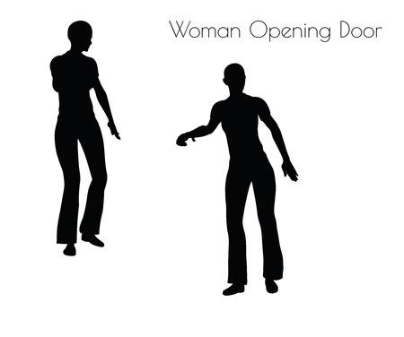 abriendo puerta: Ilustración de la mujer de la puerta de apertura plantean en el fondo blanco