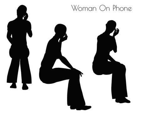 woman on phone: illustration of Woman On Phone pose on white background