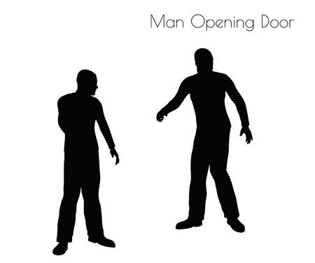 abriendo puerta: ilustración del hombre en la puerta de la apertura de posar en el fondo blanco