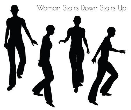down the stairs: Ilustración de la mujer escaleras Escaleras plantean en el fondo blanco Vectores