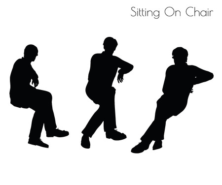 shadow people: illustration of man in Sitting Pose On Chair pose on white background Illustration