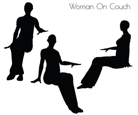 woman on couch: illustration of Woman On Couch pose on white background