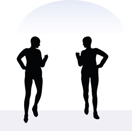expansive: EPS 10 vector illustration of woman in joyful pose on white background