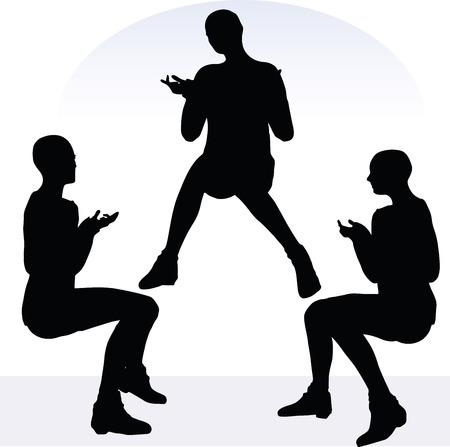 censure: EPS 10 vector illustration of woman in blaming pose on white background Illustration