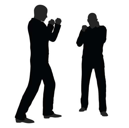 rowdy: EPS 10 vector illustration of man in fight pose on white background Illustration