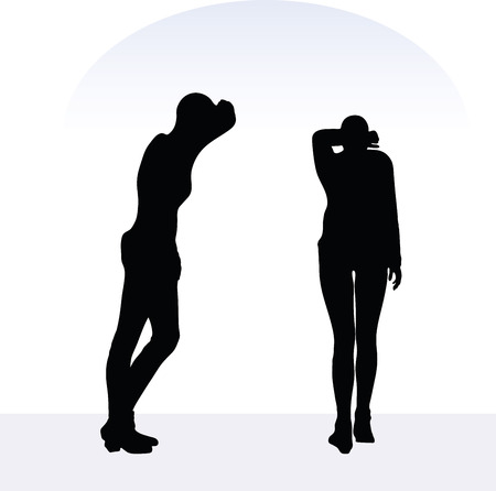 avid: EPS 10 vector illustration of woman in anxious pose on white background